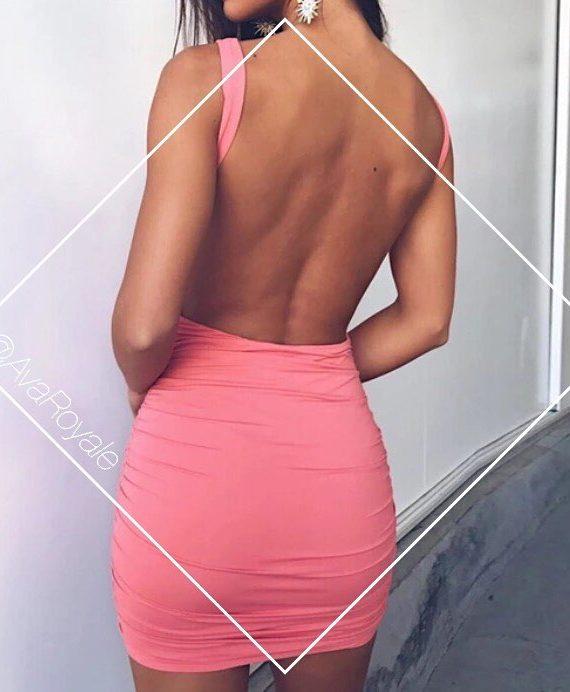 Backless Pink halter neck dress