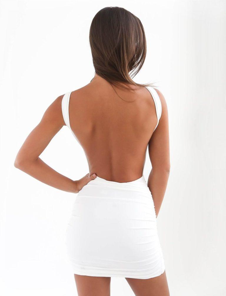 Backless white halter neck dress
