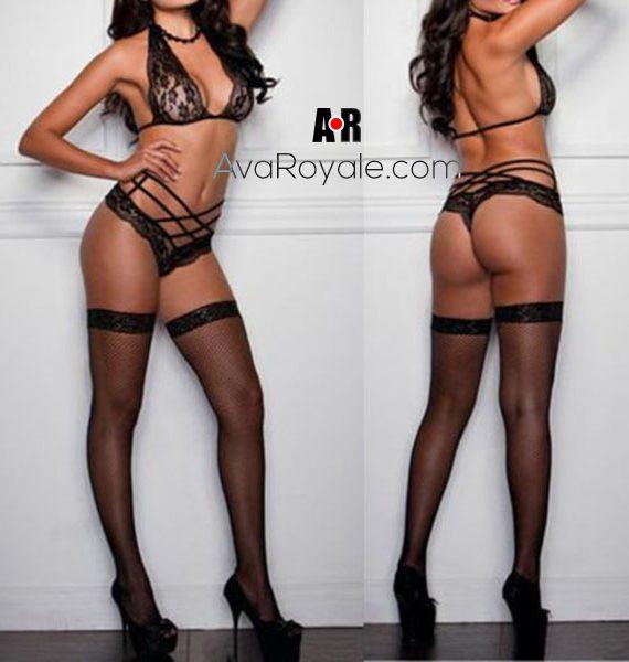black and Sexy-Bra-Set-Womens-Sexy-Lingerie-Bandage-Lace-Underwear-Babydoll-Sleepwear-G-string-Bra-Set2 copy