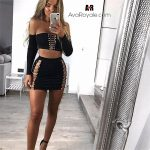 split thighs and hips black two piece outfit pin dress short skirt