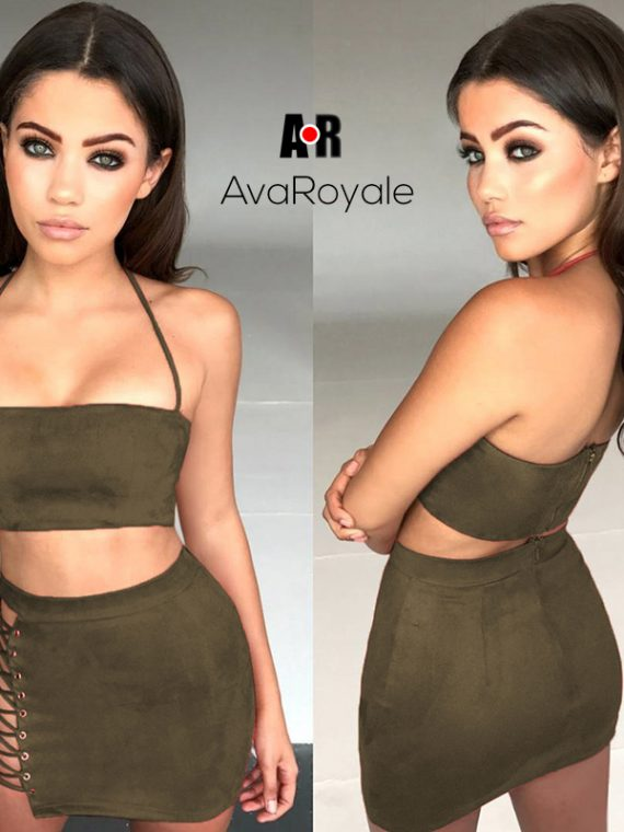 Army green two piece dress outfit ava royale
